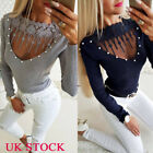 Womens Beads V Neck Long Sleeve Tops Ladies Slim Winter T Shirts Blouses