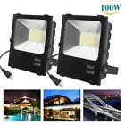 2x 100W LED FloodLights Spotlights Outdoor Flood Cool White Security Lamp Black