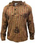 Mens Stonewashed Striped Hooded Grandad Shirt Long Sleeve Casual Hooded Top