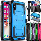 For iPhone X Case Defender Shockproof Slim Armor Kickstand Clip Holster Cover