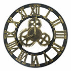 Industrial Retro Wall Clock Large 12 16 inch Round 3D Gear Roman Numeral Decor
