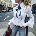 OL Women Lantern Sleeve Casual Bow Tie Blouse Loose Tops Button Down Shirts USA