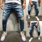UK Mens Fashion Skinny Stretch Jeans Distressed Ripped Jeans Freyed Denim Pants