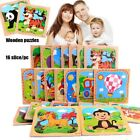 Toy Natural Wood 3D Puzzle Jigsaw Animal/Traffic Puzzles Wooden Cartoon Jigsaw