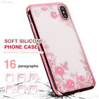 73EE ForSamsungGalaxy S9 S8 S7 Plus Soft Silicone Back Case Diamond Flower Cover