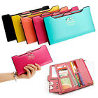 Cute Bow Women Long Leather Thin Wallet Purse Multi ID Credit Card Holder Gift image