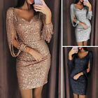 Womens Ladies Tassel Long Sleeve V Neck Sequin Mini Party Evening Dress Bodycon