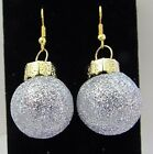 Glitter round ball ornament dangle earrings Christmas 1pr various colors d2gbd