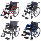 Folding AID Wheelchair Footrest Self Propelled Portable Lightweight with Brakes