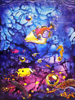 Tropical Trigger Fish Magenta Island Ocean Sealife Art Painting Print CBjork