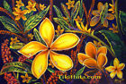 Yellow Plumerias Nature Hawaiian Island Plant Life Art Painting Print LE CBjork