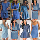 Womens Denim Jeans Short Mini Dress Pocket Ladies Casual Party T Shirt Dresses