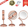 LED Lighted Vanity Mirror Gold Conair Rose Dual-Sided 5X Magnification 360 Rotat