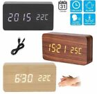 Modern Wooden Wood USB Digital LED Alarm Clock Calendar Thermometer Home Decor