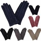 New Casual Ladies Textured Stitched Stylish Button Design Winter Cosy Gloves