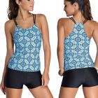 Blue Mosaic Yoga Sport Tankini Bra Top Bikini Beach Shorts Swimsuit Swimwear 2XL
