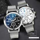 Men's Military Watches Analog Quartz Stainless Steel Big Dial Wrist Watch Gift image