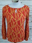 Talbots Women's Small Keyhole Blouse Top Print with Gold Chain and Keys Cute