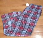 Cuddl Duds Men's Fleece Pants Relaxed Fit Red Plaid Lounge Pant Super Soft