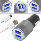 Car Charger 2.1A Dual 2 Port Fast Charger Plus iPhone , Type C & Micro USB Cable