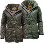 Womens Game Cantrell Antique Waxed Cotton Padded Wax Jacket Coat