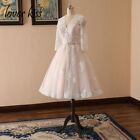 NEW Ivory Champagne Long Sleeve Wedding Dresses Short Knee Length Bridal Gowns