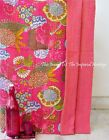 Indian Handmade Kantha Quilt Throw Vintage Queen-Cotton Bed-Cover