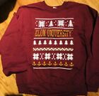 Elon Unives Men's Large Ugly  Christmas Sweater - Maroon  White And Yellow