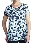 New Womens Print Layered Blouse With Necklace Trim