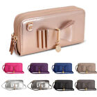 Ladies LYDC Twin Zip Bow Purse Girls Metallic Prom Wallet Clutch Handbag GPL310C