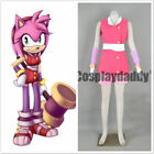Sonic Boom Team Sonic Amy Rose the Hedgehog Pink Outfit Cosplay Costume NN.043