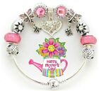 Authentic Pandora Bracelet Silver with Pink European Charms Heart Mother  Day