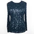 SUDI CREATIONS Vintage Black Sequinned Occassion Evening Top Large Uk 12 14