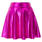 KK Womens Shiny Wet Look Metallic Mini Skater Skirt Party Flared Pleated Costume