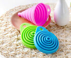 Silicone Gel Practical Foldable Collapsible Style Funnel Hopper Kitchen Tool LF
