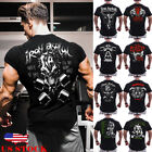 US Men Slim Fit O Neck Short Sleeve Muscle Tee Shirts Casual T-shirt Tops Blouse image