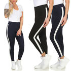 Damen Leggings Leggins Jeggings Stretch Seitenstreifen Jeans Treggings Röhre 67