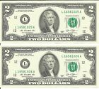 US 2013 $2 Bill - Lot of 2 Consecutive Numbers Non-circulated Two Dollar Bills L