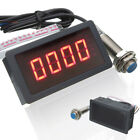 1PC 4 Digital LED Tachometer RPM Speed Meter + Hall Proximity Switch Sensor