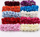 Внешний вид - 144PCS Mini Paper Rose Artificial Flower Rose Bouquet Wedding Crafts Decoration