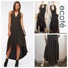 Ecote Urban Outfitter Black Metallic Gold Sparkly High Low Party Dress • Sz XS