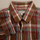Cutter & Buck Button Up Shirt Men's Size Large Brown Red Plaid Long Sleeve