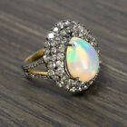 4ct NATURAL OPAL 2ct DIAMOND COCKTAIL RING PAVE DOME 3 ROW CLUSTER STATEMENT BIG
