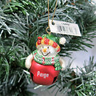 Personalized Christmas Ornament PAIGE Snowman Jingle Bell Red Ganz NEW