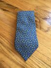 Hermes Tie 100% Silk Blue W Gold And Silver Print Made in France