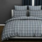 Tartan Check 100% Cotton Quilt Duvet Cover Yarn Dyed Plaid Bedding Set Grey Blue