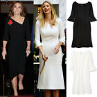 Kate Middleton Ivanka Trump Asymmetric Neck Trumpet Fit Flare Mermaid Midi Dress
