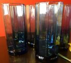 Vintage Lot of 6 Anchor Hocking Druzzy ESSEX Blue Paneled Tumblers 16 oz