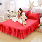 Princess Ruffles Lace Bed skirt Bedspread Full Queen King Size Double Bed Cover