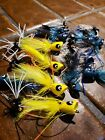 24 BASS YELLOW HARD POPPERS FROG FLIES SELECTION FRONTIER FLY FISHING FLIES LOT